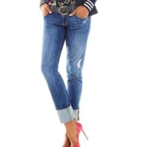 CAbi Distressed slim boyfriend jeans Sz 6
